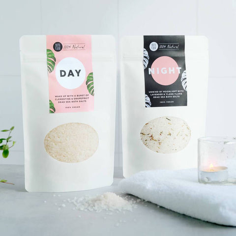 100% natural and vegan Dead Sea bath salts in completely biodegradable, plastic-free packaging.  These high quality bath salts are naturally scented using only essential oils, with no artificial fragrances, harsh chemicals or hidden nasties. They are available in two individual scents: Night, which is perfect for a relaxing bath in the moonlight with relaxing lavender and comforting ylang ylang and Day, which features zesty clementine and grapefruit to wake you up and add zest to your morning routine.  Thes