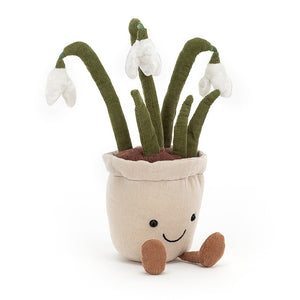 Amuseable Snowdrop is here to spread cheer when it's chilly and dark at the start of the year. Sat in a soft grey linen pot, this pal has the prettiest frosty-white flowers, squishy cordy stems and fluffy soil. Kick up those cocoa boots - it's Spring!