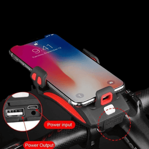 Bicycle phone holder with flashlight, power supply and horn