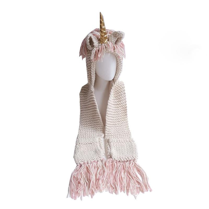 Unicorn Knit Hooded Scarf