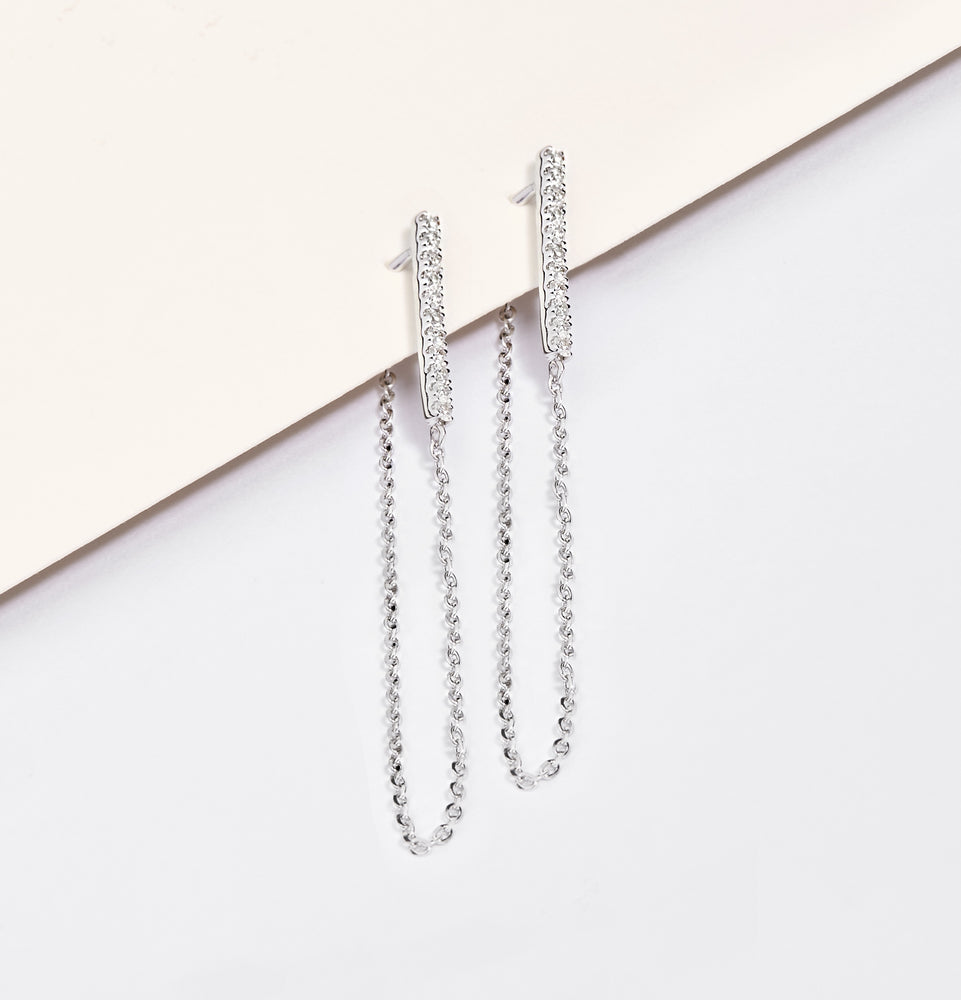 Load image into Gallery viewer, Diamond Bar with Chain Earrings
