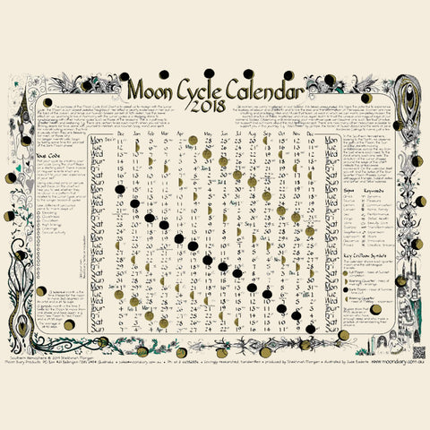 Moon Cycle Wall Chart 2018