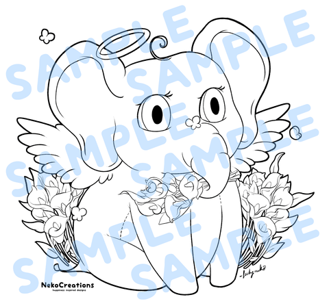 Elephant Angel Coloring Page - NekoCreations