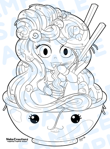 Ramen Noodle Girl Coloring Page - NekoCreations