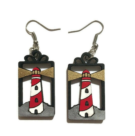 Lighthouse Dangle Hook Earrings