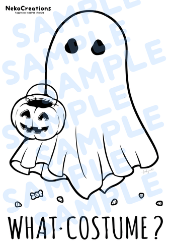 What Costume Ghost Coloring Page - NekoCreations