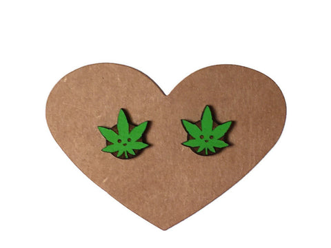 Happy Pot Leaf Stud Earrings