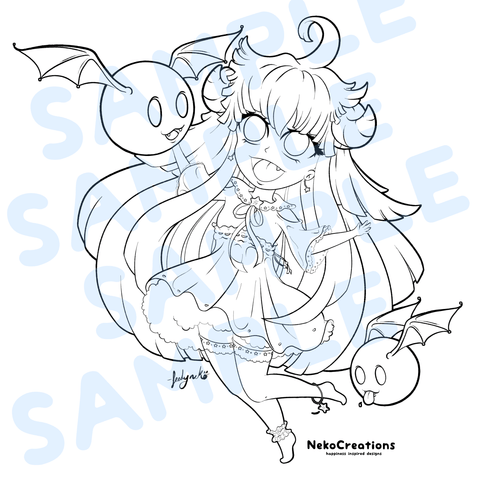 Cute Imp Girl Coloring Page - NekoCreations