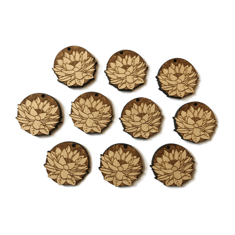 Laser Cut Lotus Flower Charms 5 Pack - NekoCreations