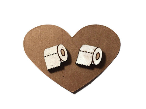 Toilet Paper Roll Stud Earrings