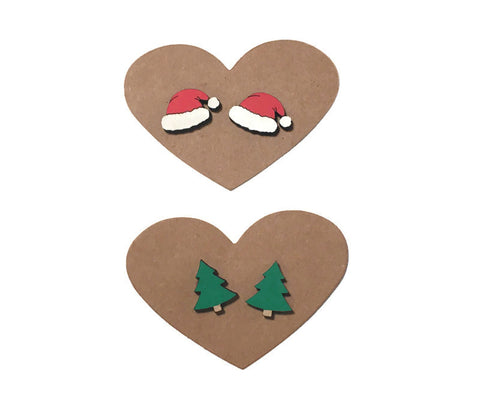 Santa Hat And Christmas Tree Stud Earrings Set