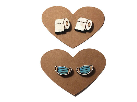 Mask And Toilet Paper 2020 Stud Earring Set