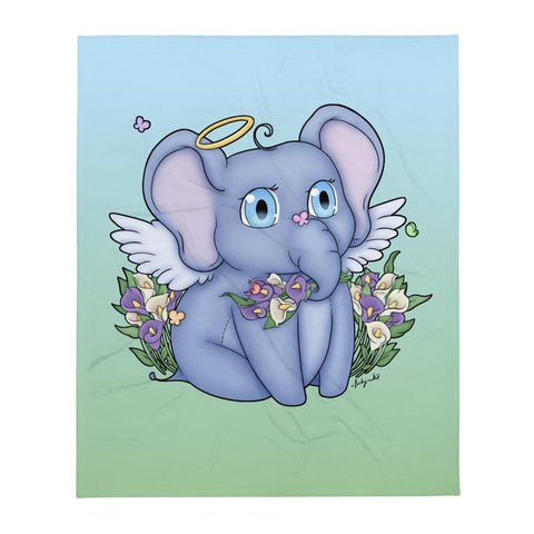 Elephant Angel Throw Blanket - NekoCreations