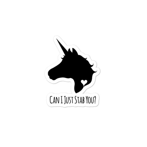"Stabby ""Can I Just Stab You"" Unicorn Stickers - NekoCreations"