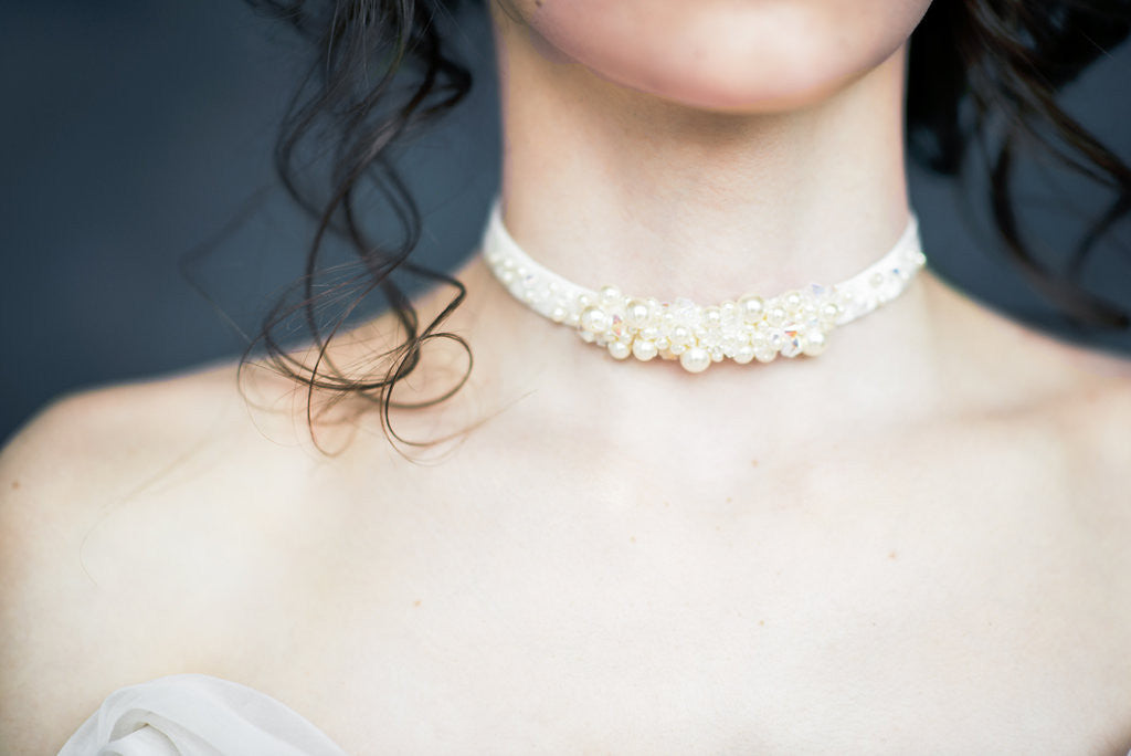 crystal and pearl velvet bridal wedding choker- handmade in Toronto Canada - Blair Nadeau Millinery - Whitney Heard Photography
