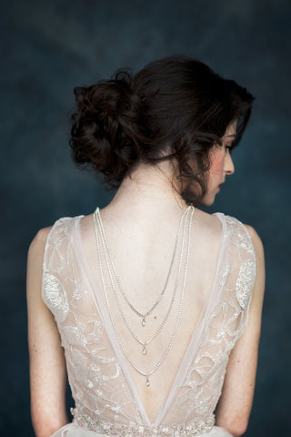 silver crystal drop back necklace - handmade in toronto canada - blair nadeau millinery