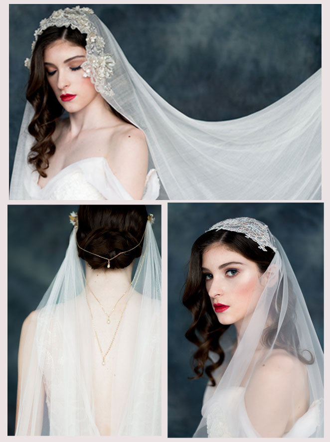 bridal veils handmade in toronto canada by blair nadeau  millinery silk net, irish net, english net, italian net