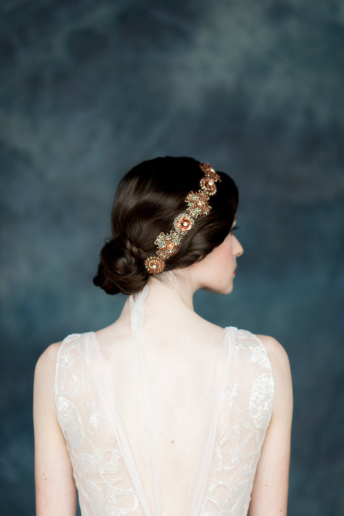 Antique Rose Gold Crystal Flower Crown - Made in Toronto Canada - Blair Nadeau Millinery - Whitney Heard Photography