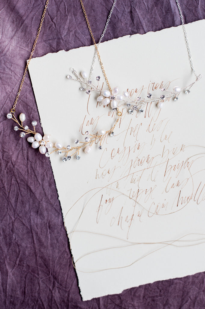 KAYLA Freshwater Pearl & Crystal Flower Vine Necklace