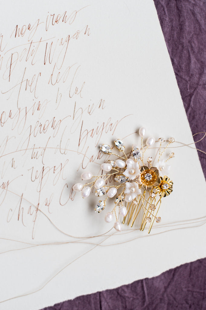 Gold Floral Pearl Bridal Hair Comb Handmade in Toronto Canada by Blair Nadeau Bridal Adornments Photography by Whitney Heard Photography