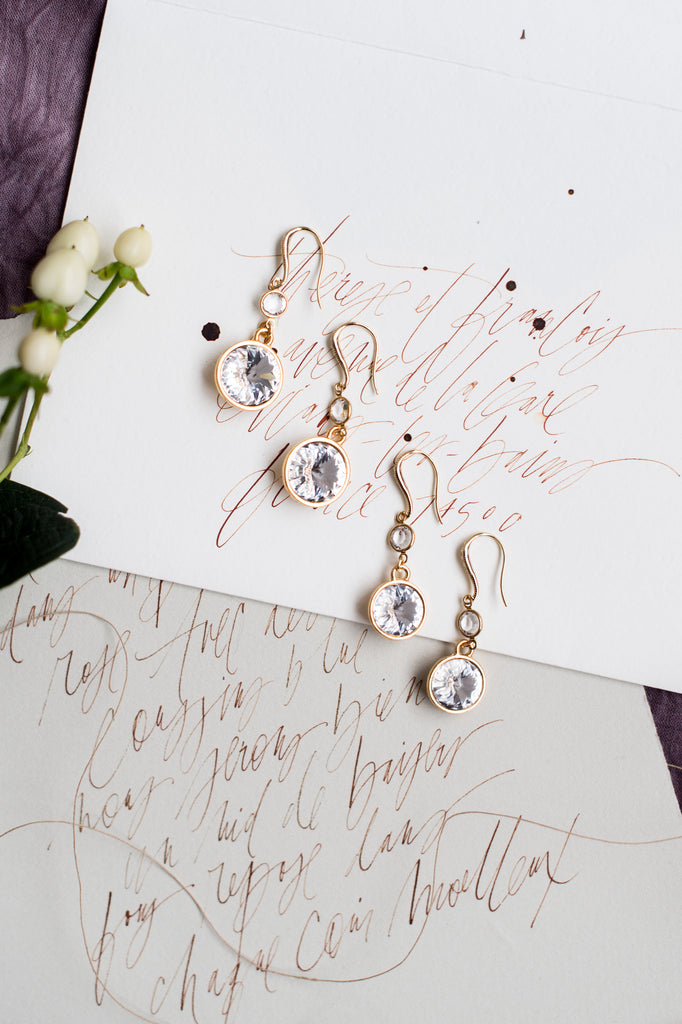 Gold & Silver Clear Crystal Round Bridal Drop Earrings - Handmade in Toronto Canada - Blair Nadeau Bridal Adornments - Whitney Heard Photography