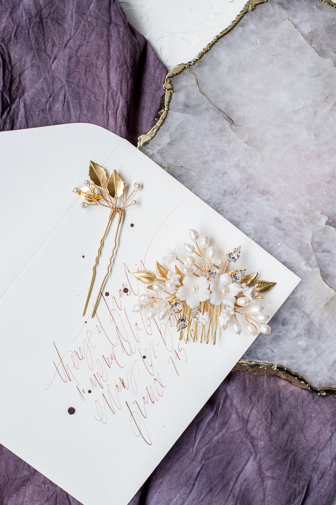 ESME Gold Flower Hair Comb