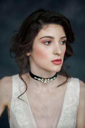 Black Crystal Velvet Choker Bridal Necklace - Handmade in Toronto - Blair Nadeau Millinery - Whitney Heard Photography