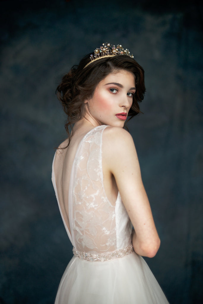 Gold Starburst Modern Bridal Crown - Handmade in Toronto Canada - Blair Nadeau Millinery - Whitney Heard Photography