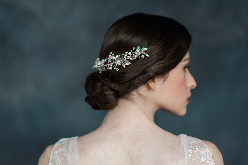 Silver Crystal Flower Leaf Hair Vine - Handmade in Toronto - Blair Nadeau Millinery - Whitney Heard Photography