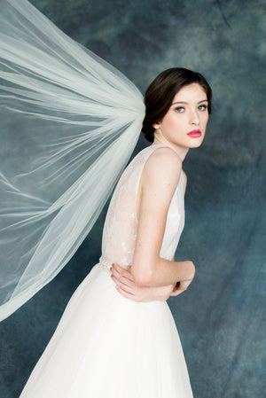 Light Weight Soft Tulle Bridal Veil Cathedral Length - Handmade in Toronto Canada Blair Nadeau Millinery Bridal Veils - Whitney Heard Photography
