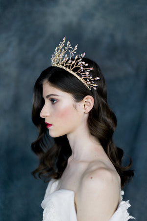 Gold Crystal Twig Crown - Handmade in Toronto Canada - Blair Nadeau Millinery - Whitney Heard Photography