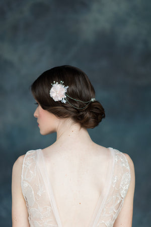 Blush White Silk Flower Bridal Hair Chain - Handmade in Toronto - Blair Nadeau Millinery - Whitney Heard Photography