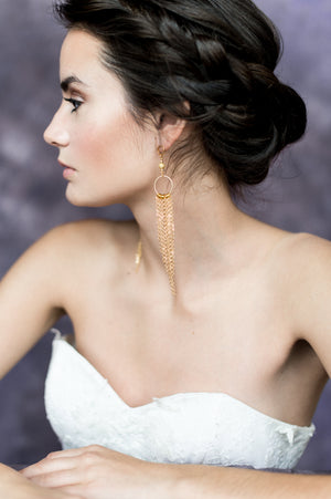 Gold Long Fringe Bridal Statement Earrings - Handmade in Toronto Ontario Canada - Blair Nadeau Bridal Adornments - Whitney Heard Photography