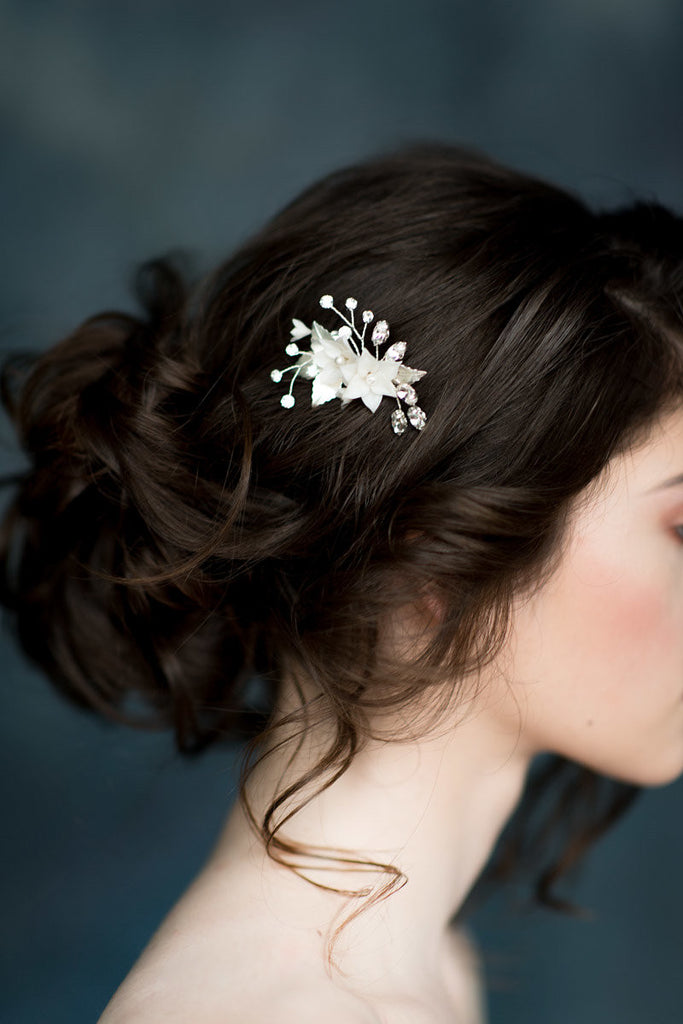 Abigail gold crystal bridal hair comb blair nadeau bridal adornments ivory flower bridal hair comb pearl crystal details handmade in toronto canada junglespirit Image collections