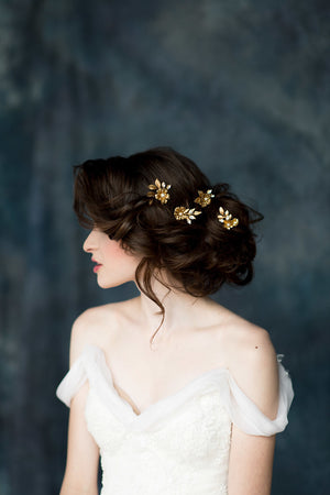 Gold & Ivory Flower Bridal Hair Pins - Handmade in Toronto Canada - Blair Nadeau Millinery - Whitney Heard Photography