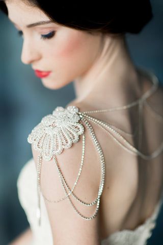 Crystal Beaded Lace Silver Shoulder Necklace - Handmade in Toronto - Blair Nadeau Millinery - Whitney Heard Photography
