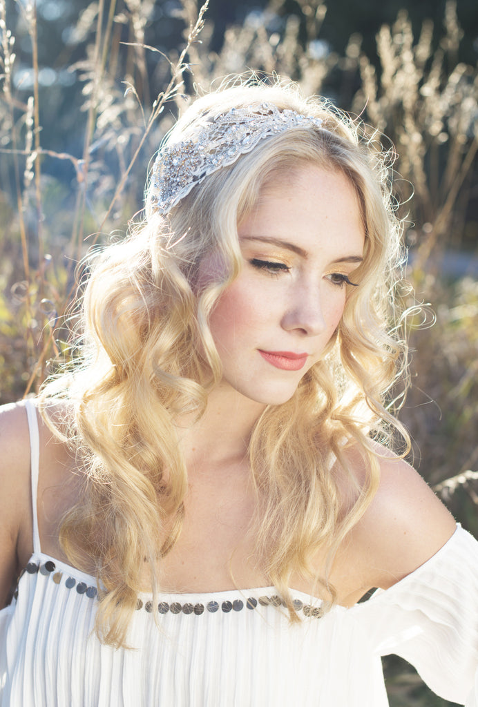 Crystal Beaded Lace Bridal Headband - Handmade in Toronto Canada - Blair Nadeau Millinery Bridal Adornments - Whitney Heard Photography
