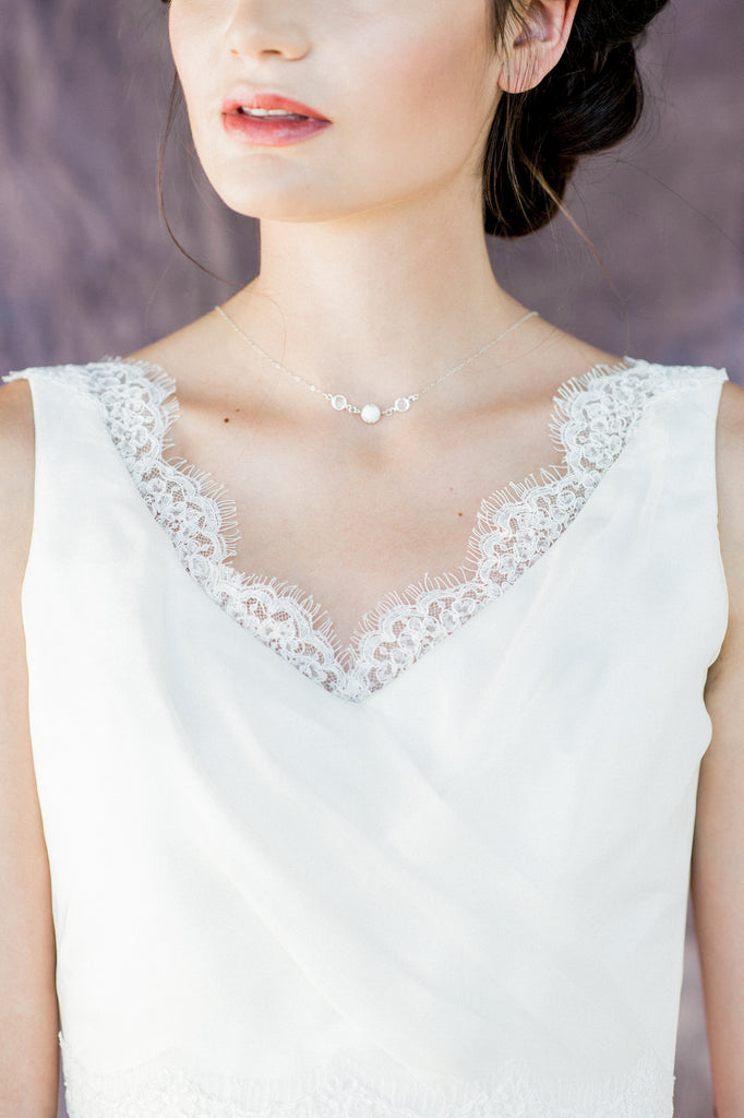 White Howlite Marble Bridal Choker Necklace - Handmade in Toronto Canada - Blair Nadeau Bridal Adornments - Whitney Heard Photography