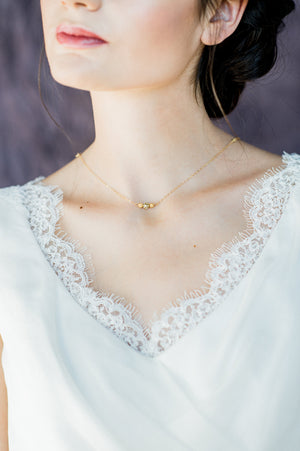 Gold Delicate Beaded Bar Crystal Bridal Necklace - Handmade in Toronto Canada - Blair Nadeau Bridal Adornments - Whitney Heard Photography