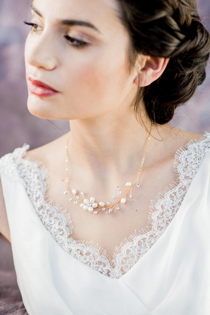 Gold Pearl & Crystal Flower Vine Necklace - Handmade in Toronto Canada - Blair Nadeau Bridal Adornments - Whitney Heard Photography