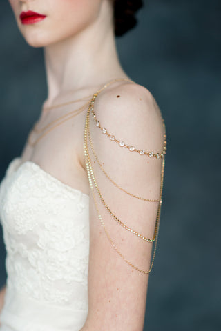 Gold Crystal Shoulder Necklace Body Chain - Handmade in Toronto - Blair Nadeau Millinery - Whitney Heard Photography