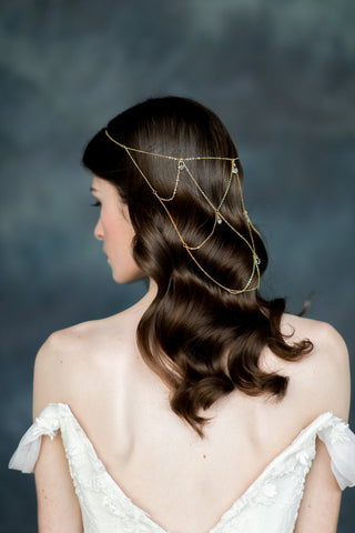 Gold Crystal Chain Bridal Hair Snood - Handmade in Toronto - Blair Nadeau Millinery - Whitney Heard Photography