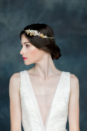 Gold Crystal Bridal Flower Hair Chain Headpiece - Handmade in Toronto - Blair Nadeau Millinery - Whitney Heard Photography