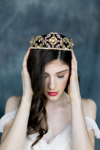 Golden Brass Crystal Filigree Queen Crown - Handmade in Toronto - Blair Nadeau Millinery - Whitney Heard Photography
