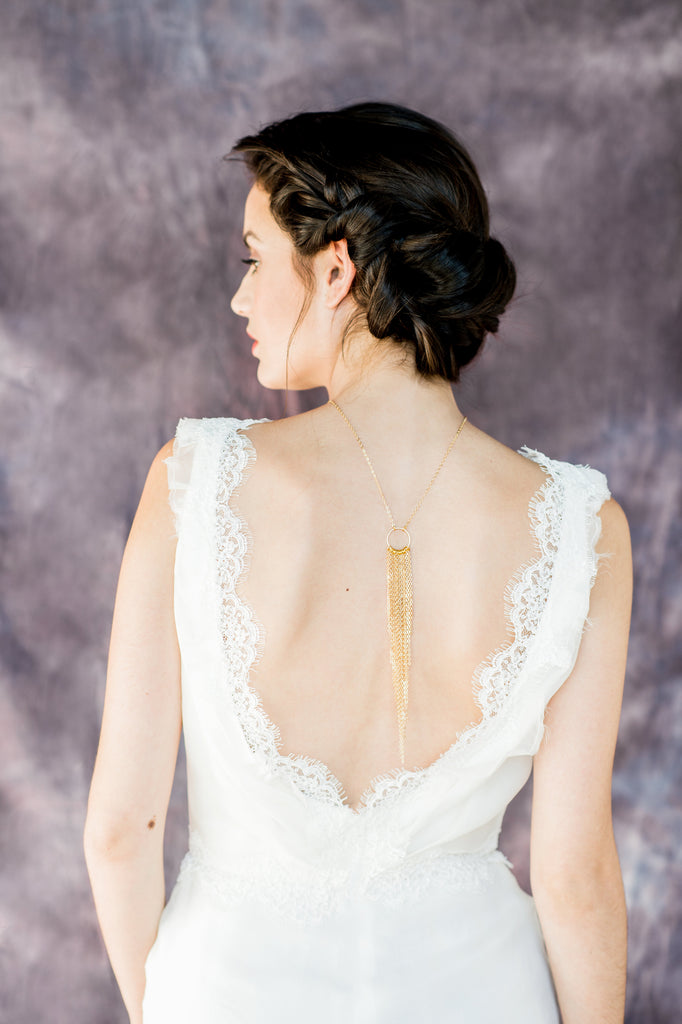 Gold Fringe Modern Bridal Back Necklace - Handmade in Toronto Canada - Blair Nadeau Bridal Adornments - Whitney Heard Photography