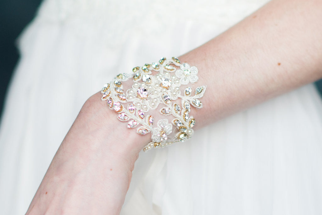 Ivory Gold Beaded Crystal Bracelet Bridal Cuff - Handmade in Toronto - Blair Nadeau Millinery - Whitney Heard Photography