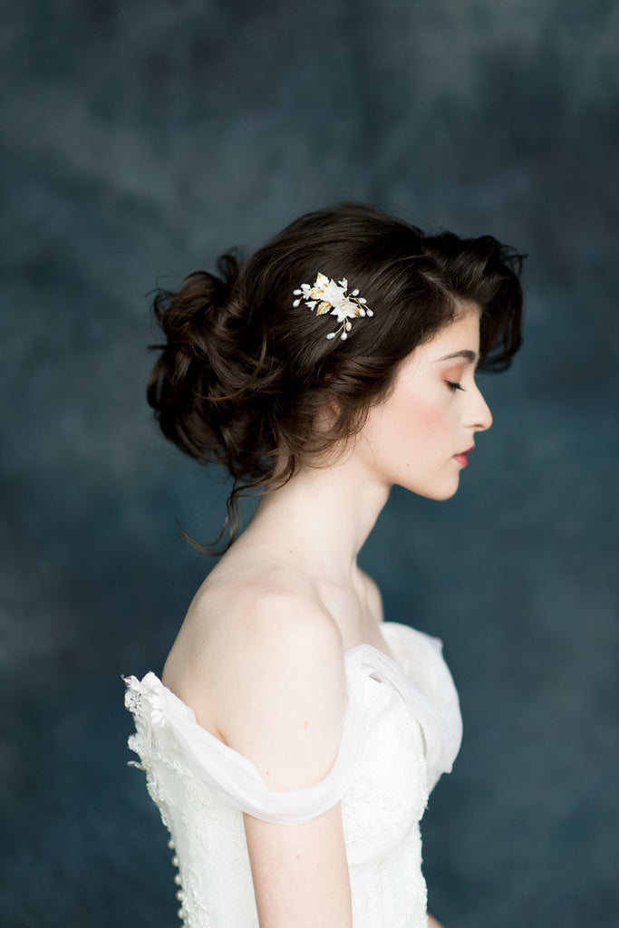 Gold & Ivory Flower Crystal Pearl  Hair Twig Bridal Comb - Handmade in Toronto - Blair Nadeau Millinery - Whitney Heard Photography