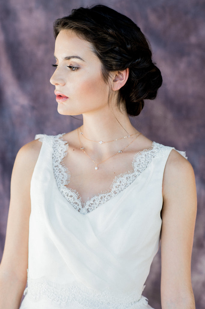Rose Gold Layered Crystal & Pearl Bridal Necklace - Handmade in Toronto Canada - Blair Nadeau Bridal Adornments - Whitney Heard Photography