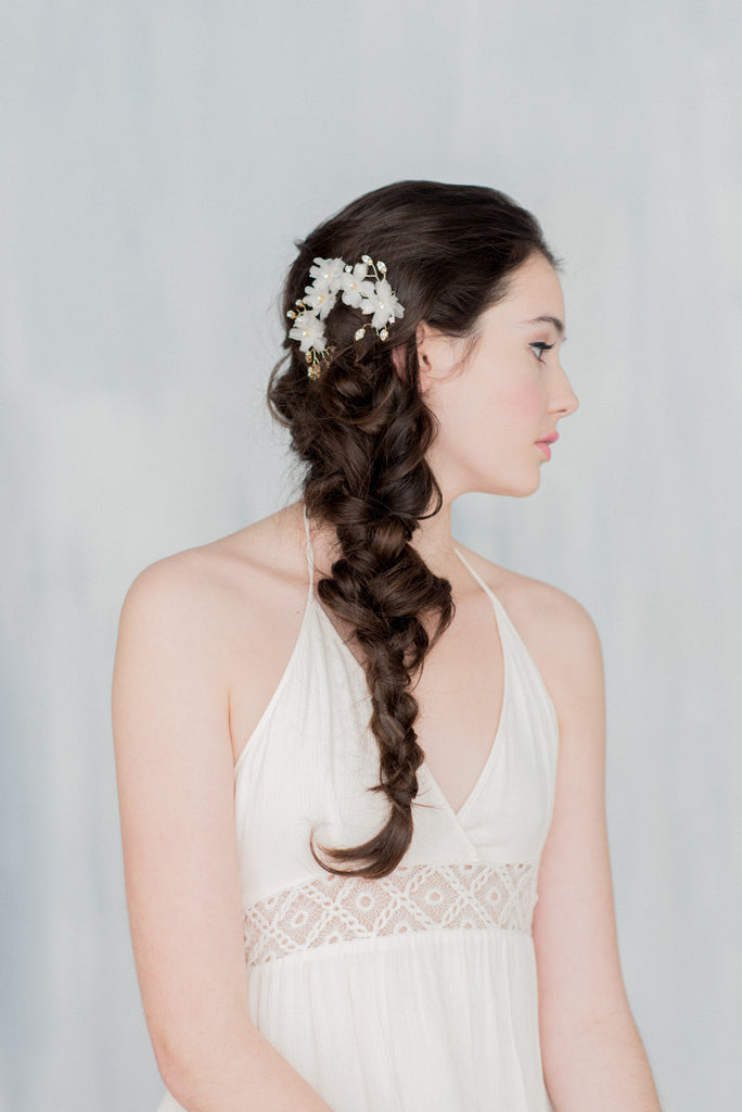 Gold Crystal Bridal Hair Vine - Handmade in Toronto Canada - Blair Nadeau Millinery Bridal Adornments - Whitney Heard Photography