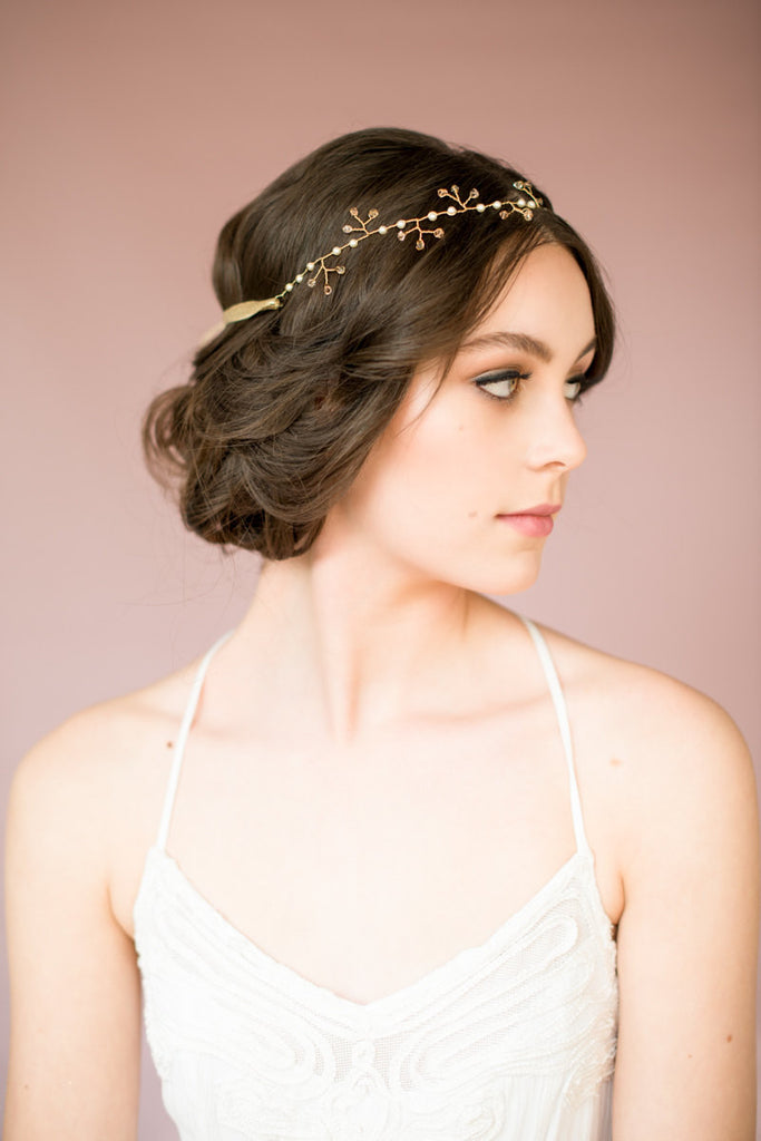 Gold Crystal and Pearl Bridal Hair Comb - Handmade in Toronto Canada - Blair Nadeau Millinery - Whitney Heard Photography